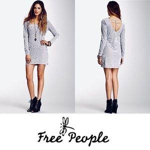 FREE PEOPLE Silver Boogie Nights Velvet Mini Dress
